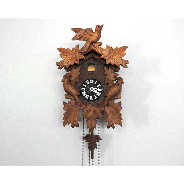 250 Liked On Polyvore Featuring Home Decor Clocks Black Clock Forest Bird Wall Wooden