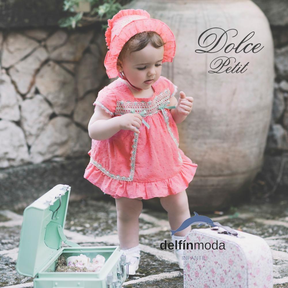 Vestido de bebe niña DOLCE PETIT coral en plumeti | DOLCE PETIT ...