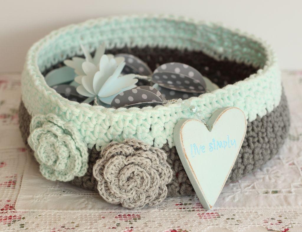 Pin de rocio chanona en tejidos pinterest cestas - Cestas de ganchillo ...