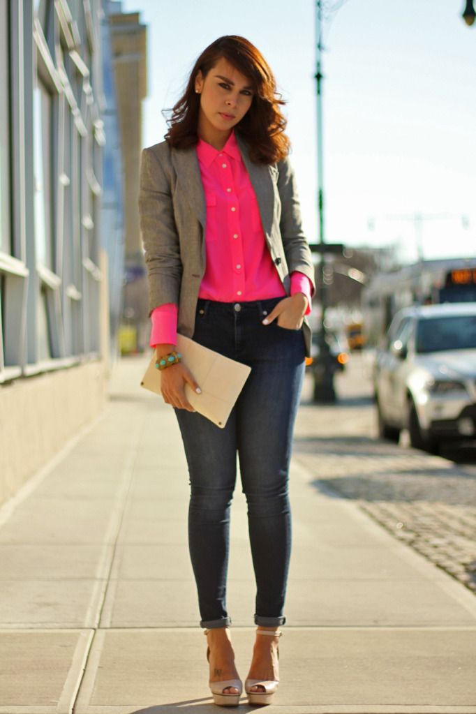 e8d764212695 I m thinking about doing this with a pair of hot pink cigarette pants and a  grey blazer.