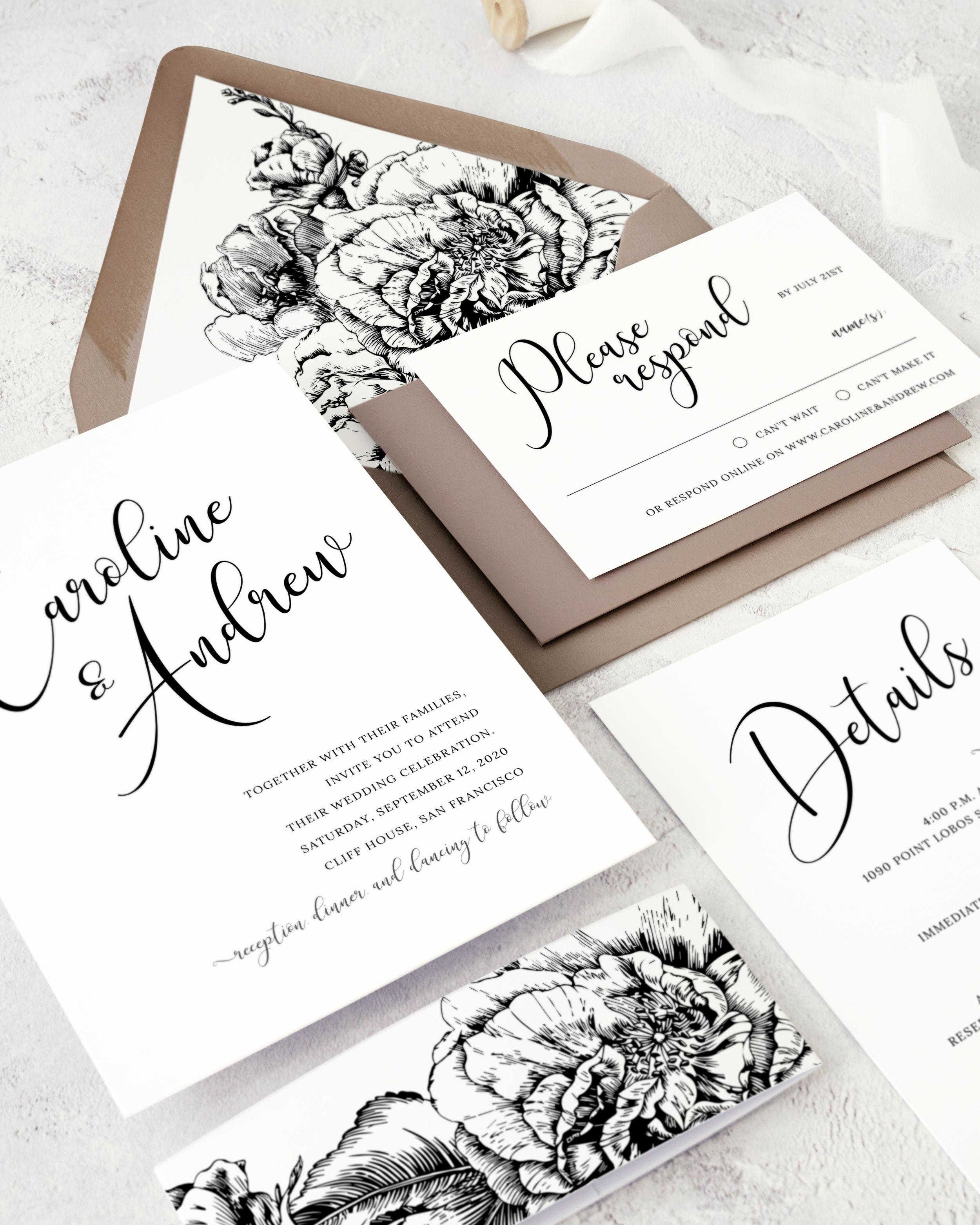 Calligraphy Wedding Invitation Suite Watercolor Floral Etsy In 2020 Calligraphy Wedding Invitation Wedding Invitations Floral Wedding Invitations