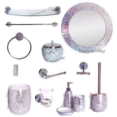 silver crackle glass bathroom accessories. Crackle  glass bathroom accessories silver sparkle mirror set new next day po