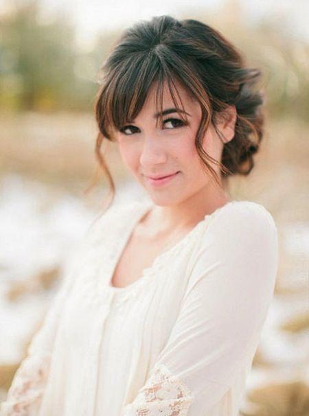 Wispy Bangs and Feminine Bridal Chignon | Short wedding hair, Wedding hairstyles for long hair ...