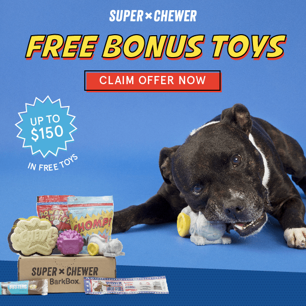 Super Chewer Barkbox coupon, Bark box, Free toys