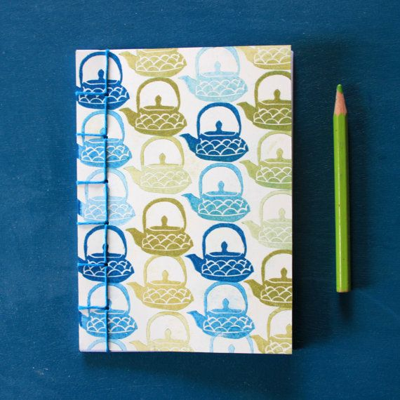 Notebook Teapots Blue And Green, For Tea Lovers, Japanese