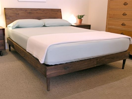 new amsterdam platform bed frame in walnut with tapered legs