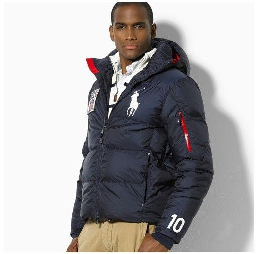 the latest 799f7 8a58c POLO RALPH LAUREN MENS BIG PONY FLAG DOWN JACKET IN DARK ...