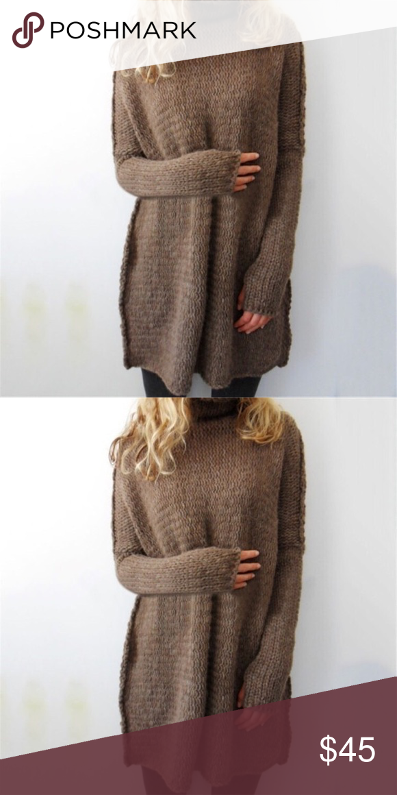 "Brown oversized sweater S Bust 26.5"" length 29.5"".                                           M Bust 27.2"" length 30""                                           L Bust 48"" length 30.3""                                           XL Bust 48.4"" length 30.7""                              *******there is a hole on the sleeve for thumb. Sweaters Crew & Scoop Necks"