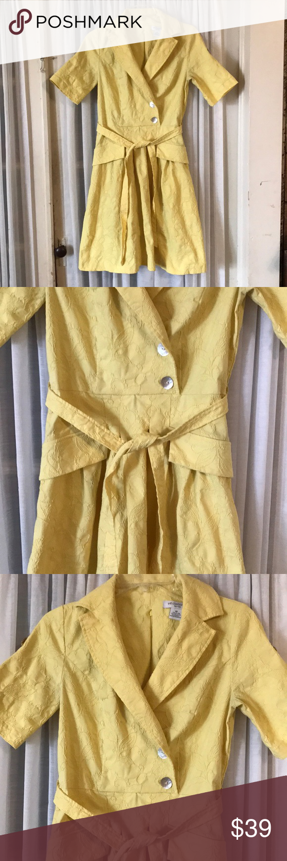 Vintage liz claiborne yellow dress petite women my posh closet