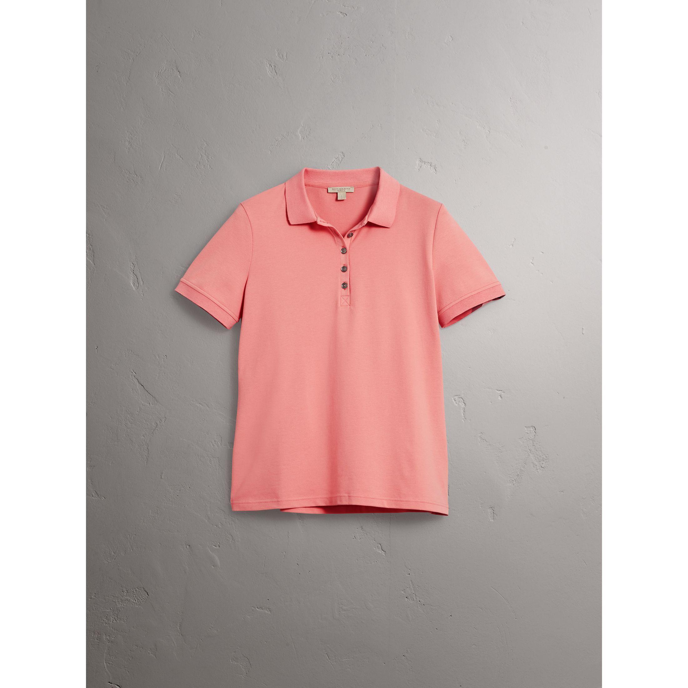 Polo en piqué de coton extensible avec éléments check (Rose Œillet) - Femme    Burberry be137bd47bb8