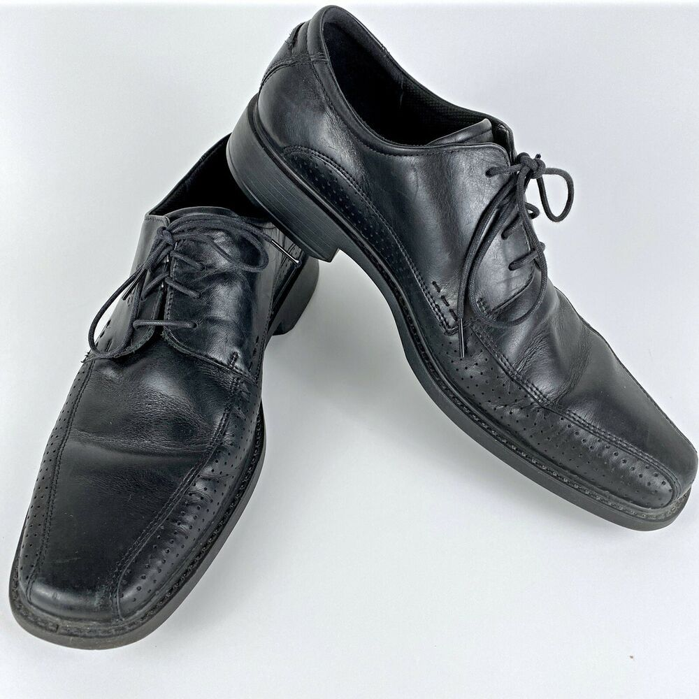 ECCO Men's Black Leather Oxfords Shock