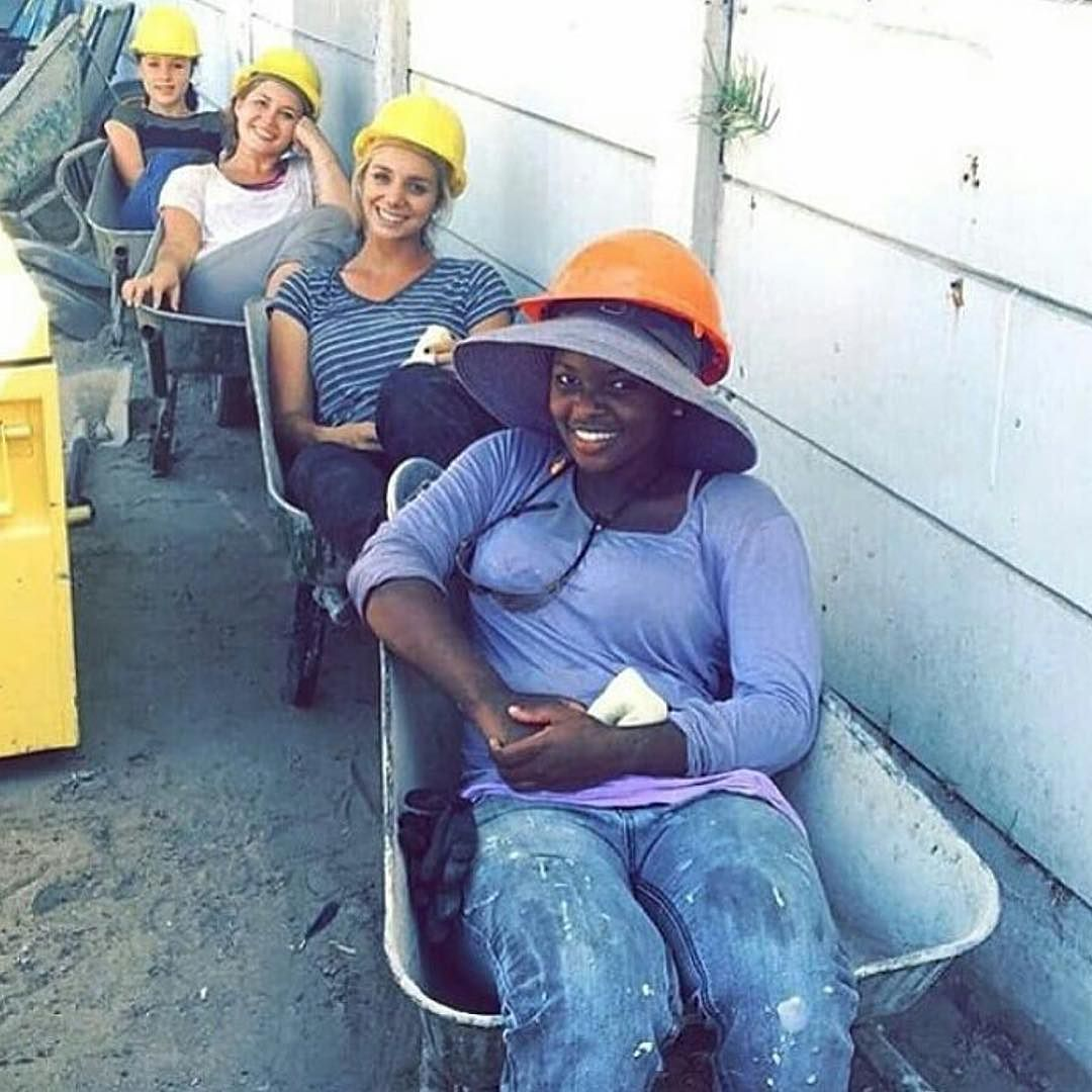 Sisters enjoying their wheelbarrow recliners on their lunch break. Working along with LDC group D in Cape Town South Africa. Photo shared by @deirdresinge