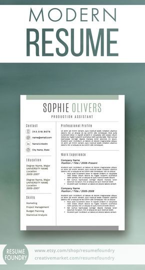 Modern Resume Template for Word, 1-3 Page Resume + Cover Letter + - cover letter for employment