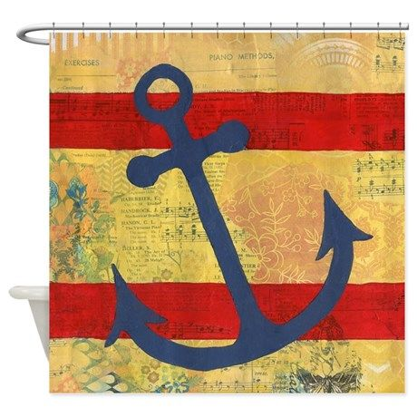 Bright Anchors Away Shower Curtain