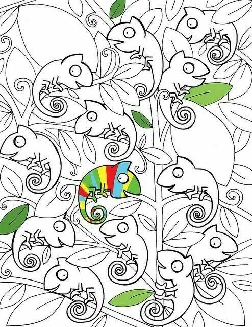Pin Von Ivone Goulart Auf Coloring Wenn Du Mal Buch Ausmalbilder Chamaleon