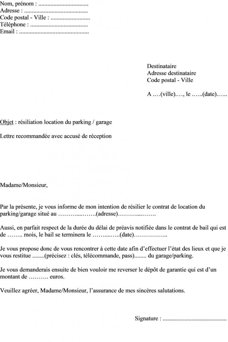 Modele De Lettre Demande Resiliation Contrat Location Place De Parking Garage Contrat De Location Exemple De Contrat Modeles De Lettres