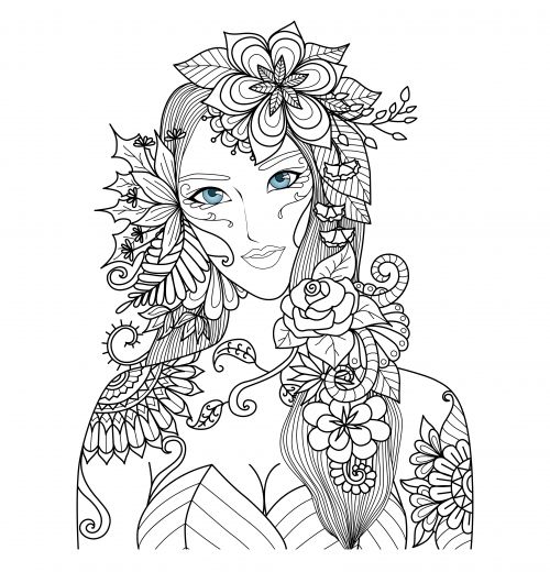 Piercing Blue Eyes Coloring Page Coloriage Femmes
