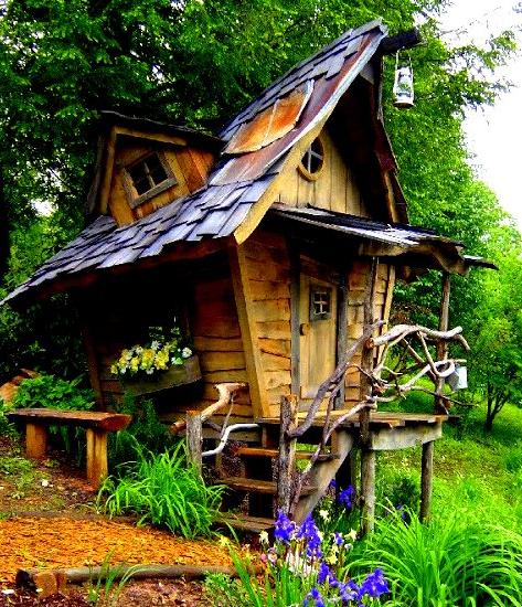 Whimsical, tiny house built by Arthur Millican  Love the wonky