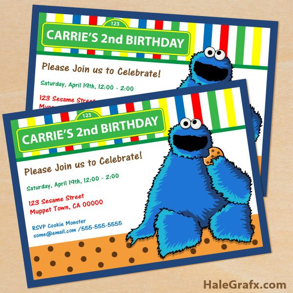 Cookie Monster Invites Free Printable Birthday Invitation