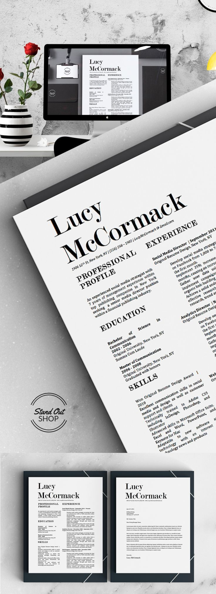 Modern resume design with matching cover letter for Microsoft Word ...