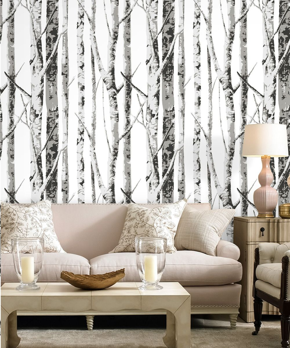 Haokhome 3d Birch Tree Wood Wallpaper Off White Grey Silve