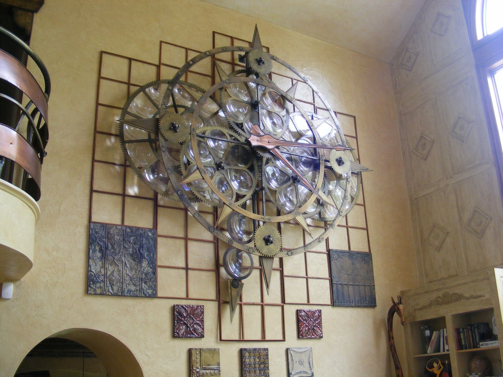 Custommade By Aaron Schroeder This Is A Large Motorized Moving Wall Sculpture Made Of Metal Plastics And M Mechanical Wall Clock Moving Walls Wall Sculptures