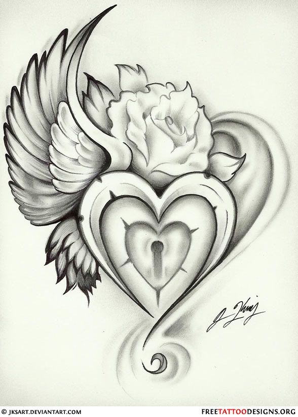 18ffaccdf7135 Heart Lock Tattoo, Sacred Heart Tattoos, Heart With Wings Tattoo, Rose  Heart Tattoo