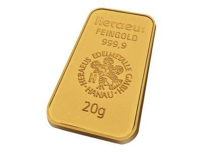 Heraeus 20 Gram Gold Bar Gold Bullion Bars Gold Bullion Coins Gold Bullion