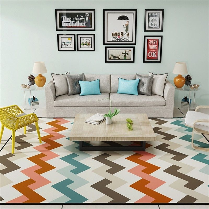 Modern Scandinavian Geometric Soft Rug Living Room Carpet Snug