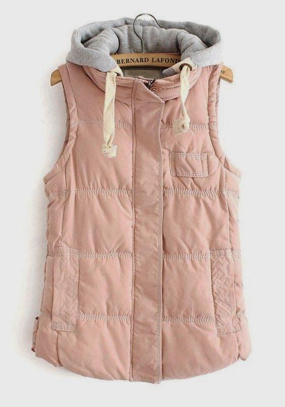 blush and grey hoodie vest