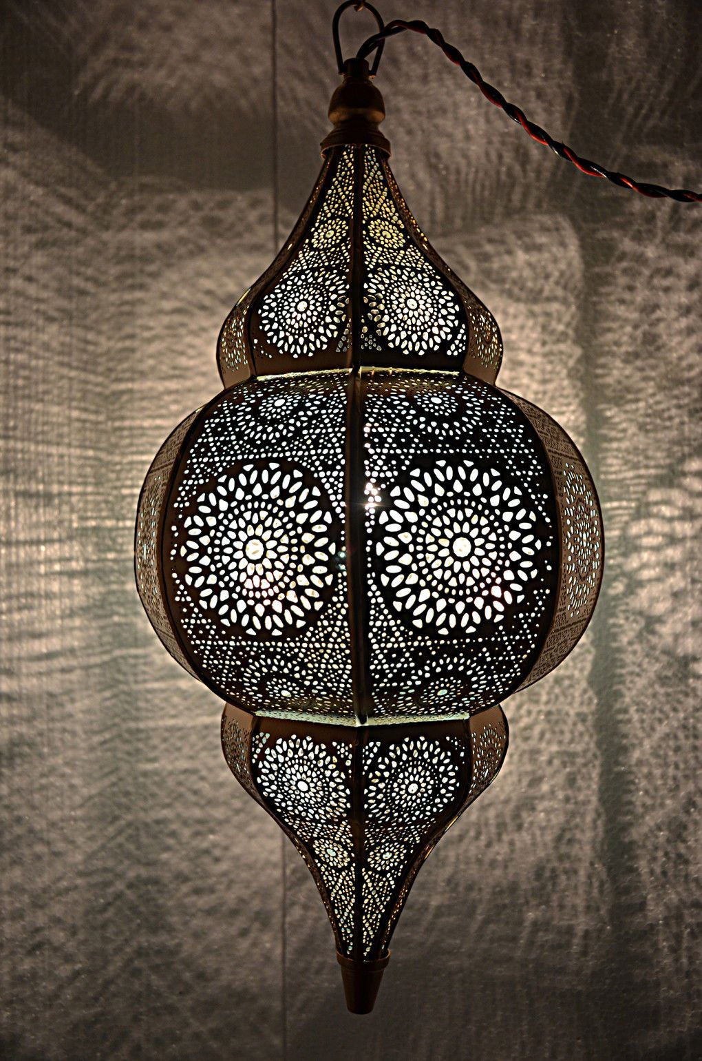 Antique Style Moroccan Hanging Pendant Light Golden Metal Ceiling