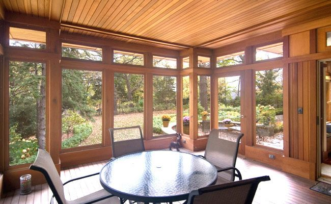 4 season porch windows screen porch interior with cedar for Sunroom interior walls