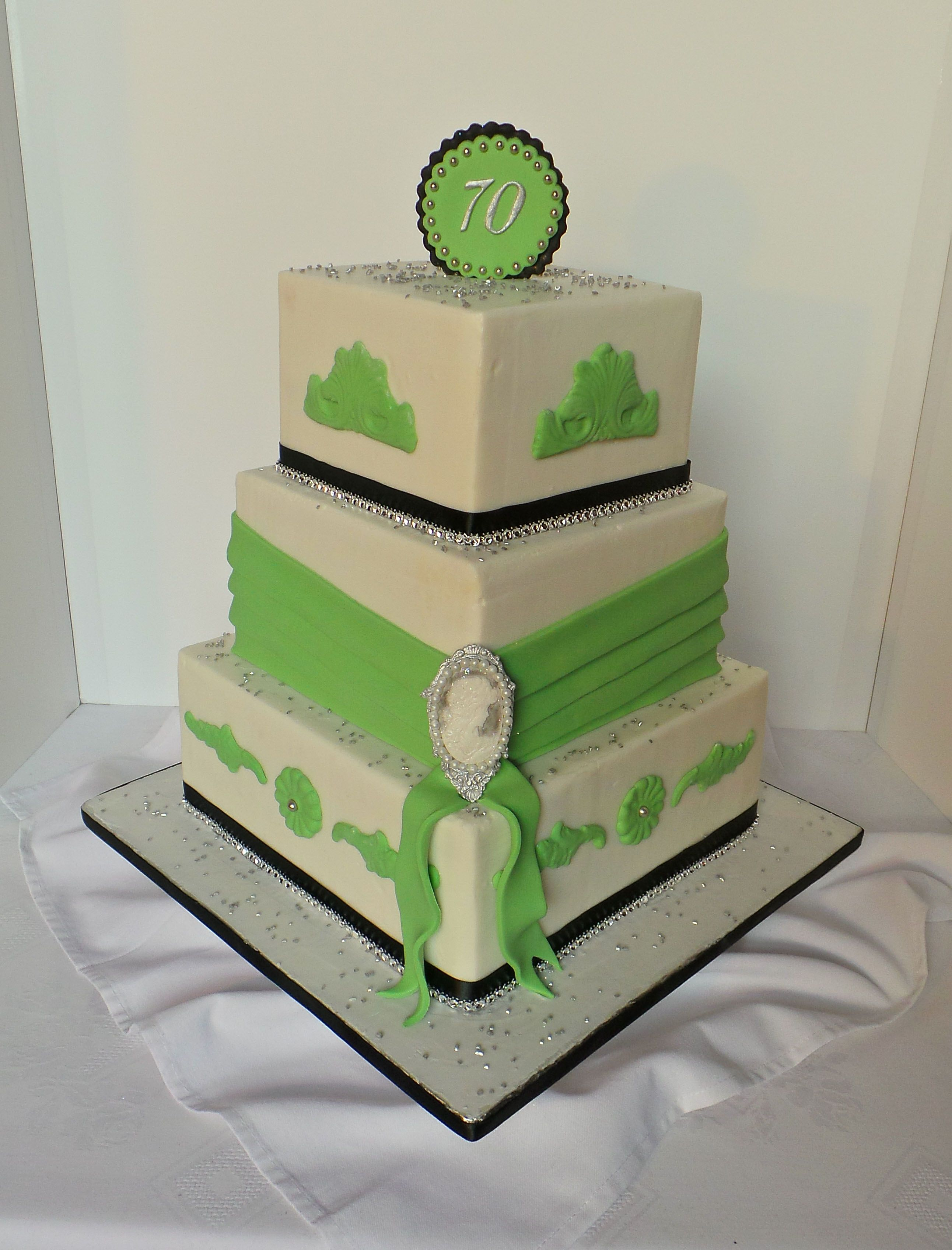 70th Vintage lime green themed birthday cake.