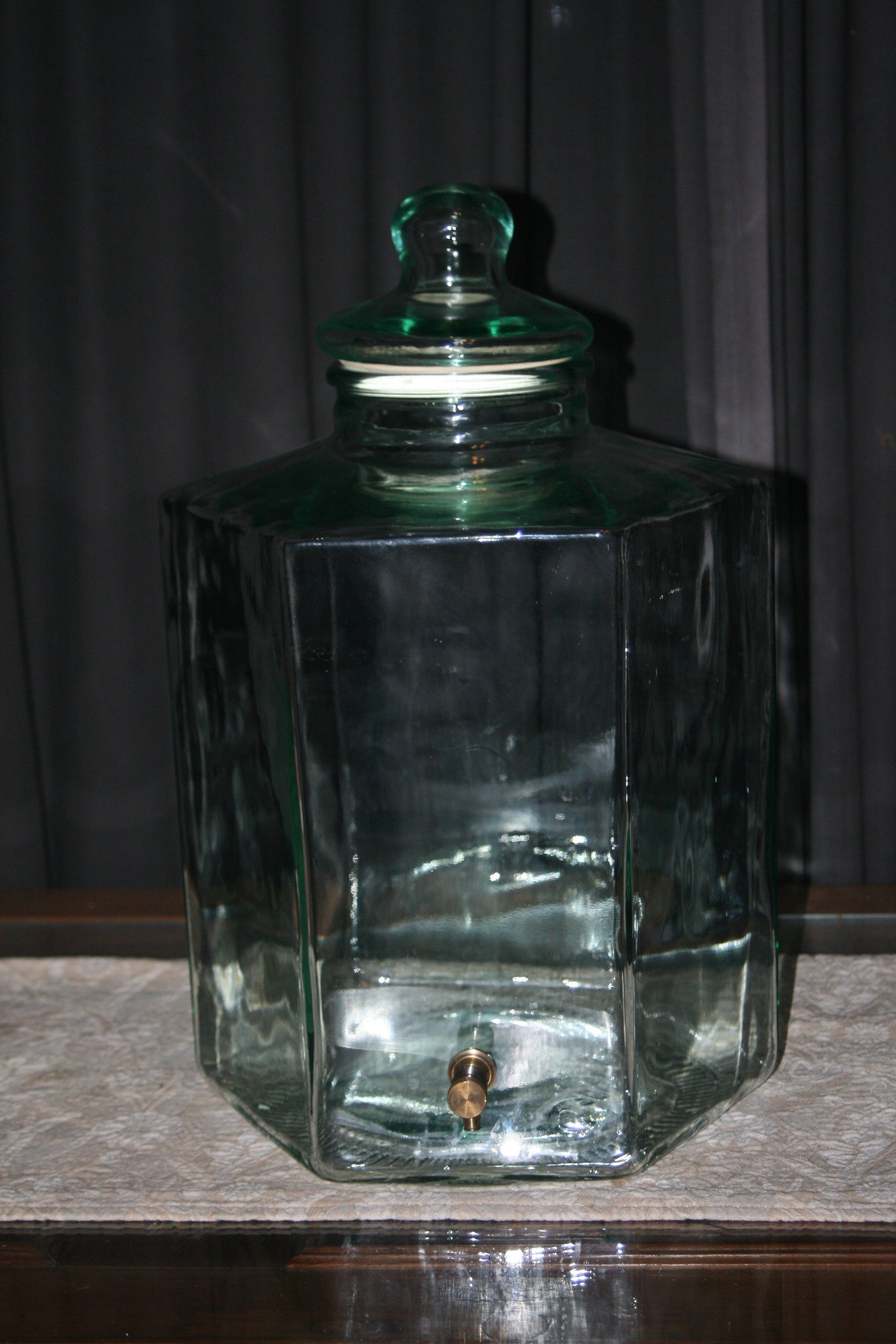 5 Gallon Glass Beverage Dispenser With Solid Brass Spigot By Theoldgreengarage On Etsy Glass Beverage Dispenser Drink Dispenser Bottle
