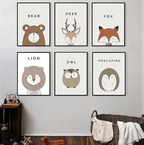 Charming Cartoon Animals, Deer Lion Bear, Minimalist Art Canvas Painting Modern Kid  Room Decor