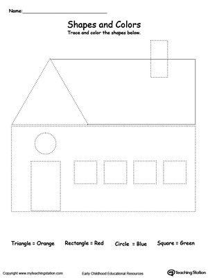 trace shapes to make a house ek ller tracing shapes shapes worksheets shapes. Black Bedroom Furniture Sets. Home Design Ideas