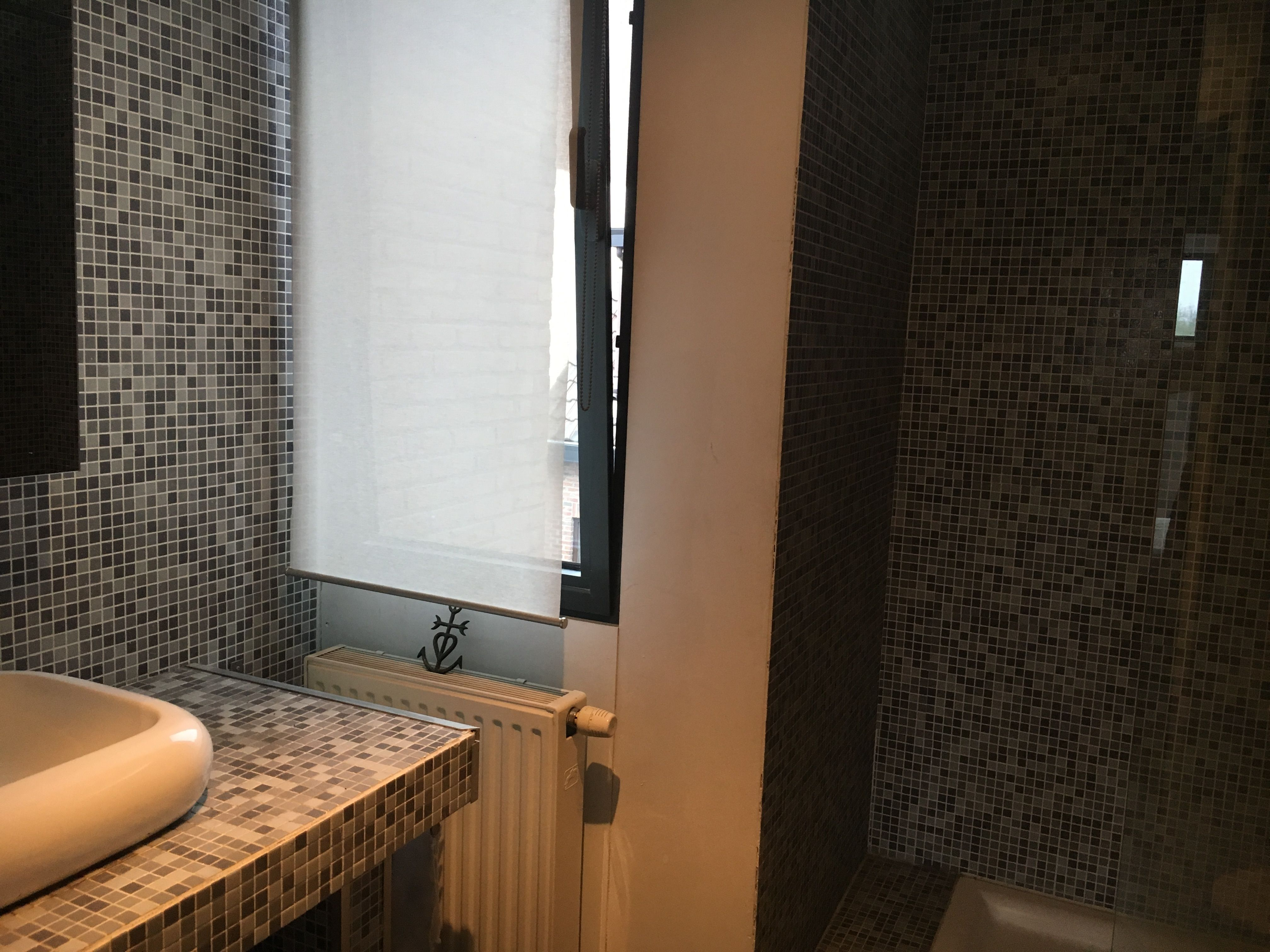 Badkamer op de 1e verdieping met wastafel, douche, toilet en ...