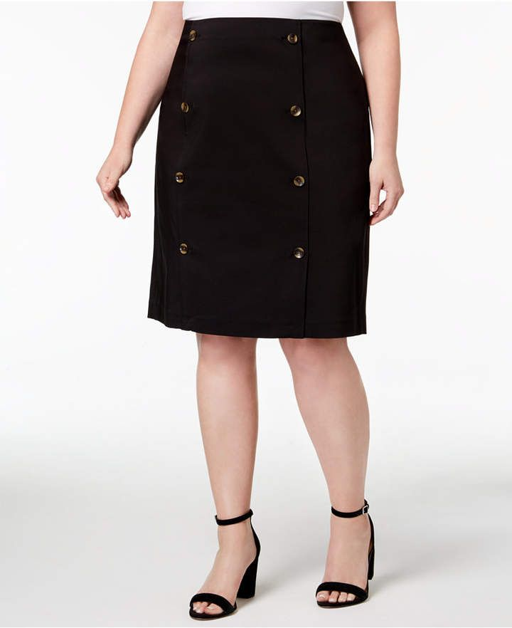 140b985ab0ad Calvin Klein Plus Size Button-Front Pencil Skirt | Plus Size Skirts ...