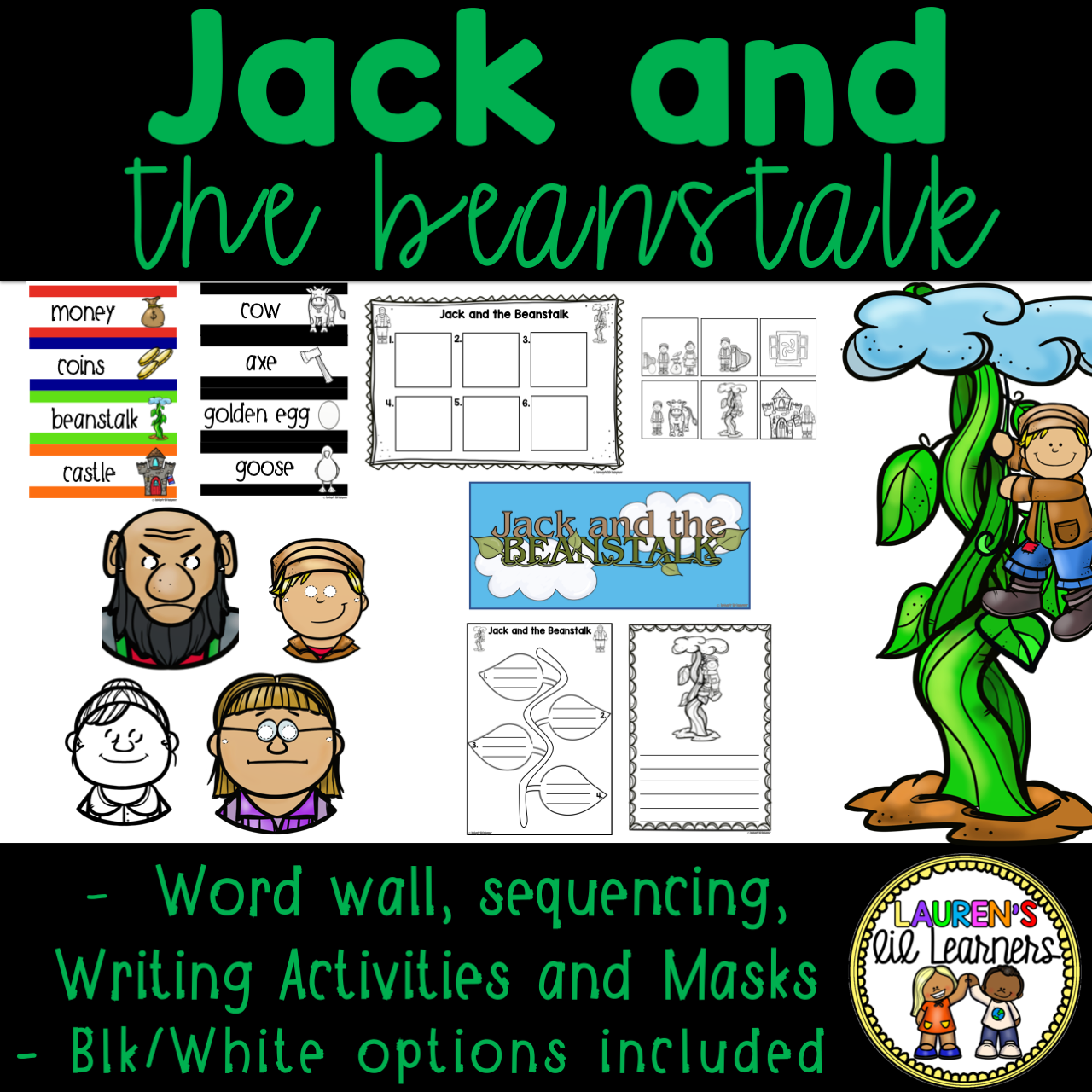 Jack And The Beanstalk Word Wall Masks Sequencing And
