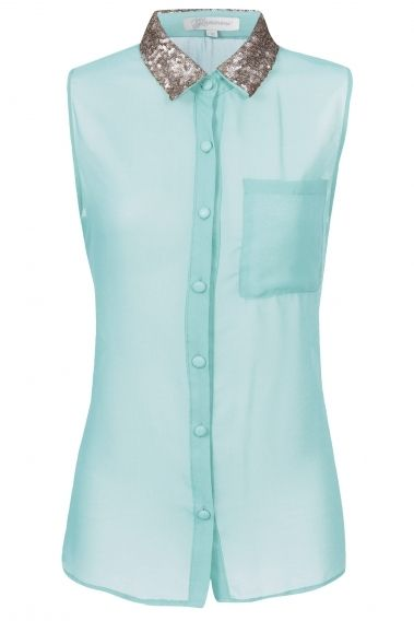 Sleeveless embellished collar shirt | Glamorous | £24