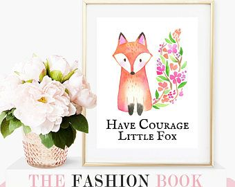 have courage little fox wall art digital print cute animal quote with flowers