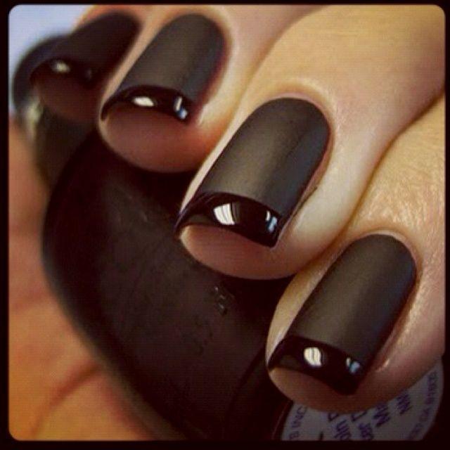 ♥ matte nails with gloss tips..! | Pretty Nails | Pinterest | Matte ...