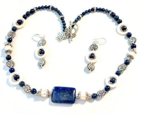 Handmade Genuine Lapis Lazuli and Mother of Pearl Necklace and Earrings Set GSN001  Grad Graduation class of 2013