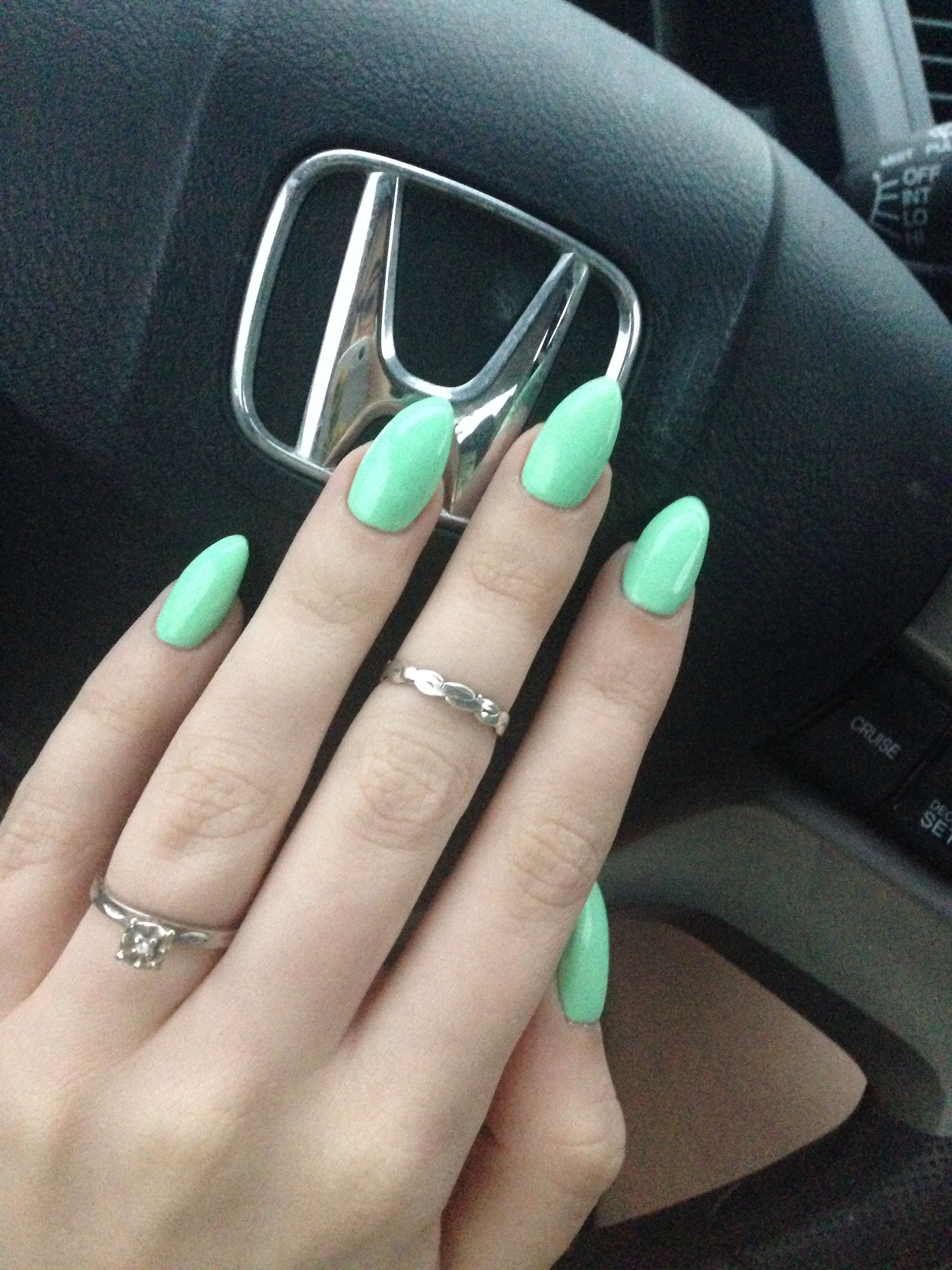 Mint almond shaped acrylic nails, this one is to die forrr   NAILS ...