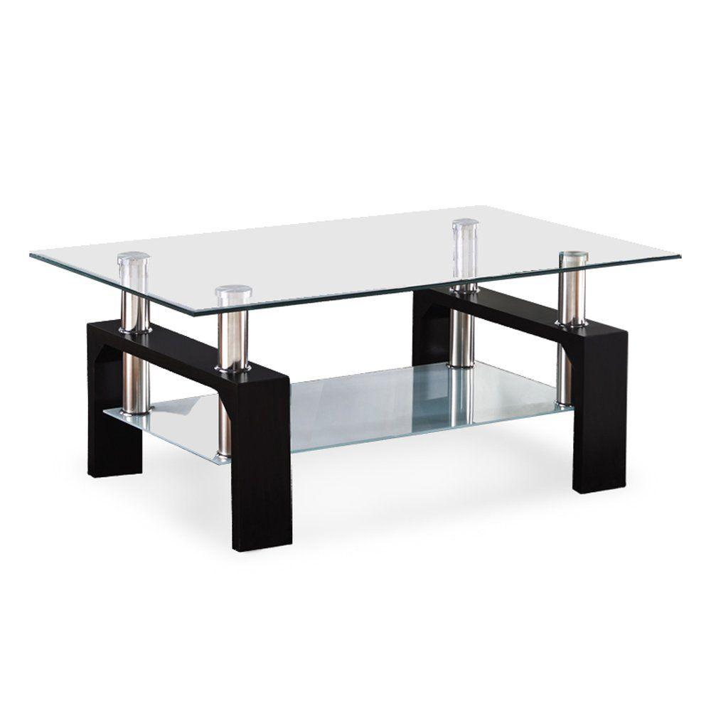 Amazon Com Virrea Rectangular Glass Coffee Table Shelf Wood