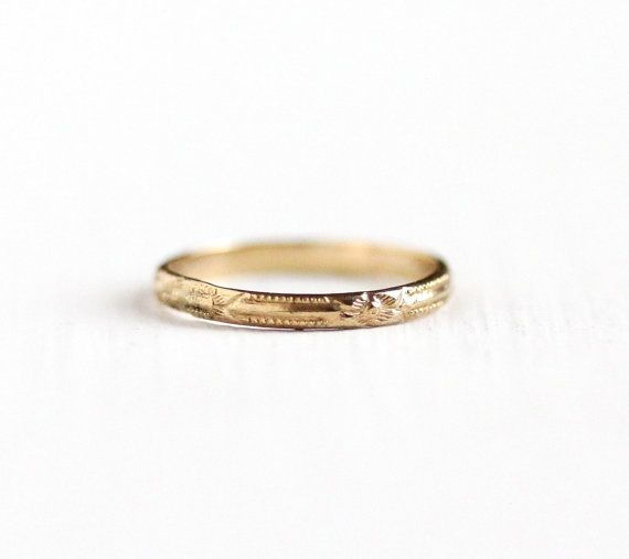 Antique 10k Rosy Yellow Gold Baby Ring Art Deco 1920s Size 1 2