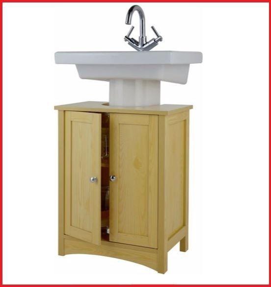 Pine Basin Cabinet Unit Bathroom Under Sink Storage High Cupboard Shelf  Wood New