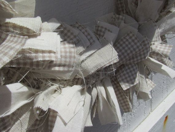 Summer Cottage Rag Wreath with Bow Tan White by RagWreathBoutique