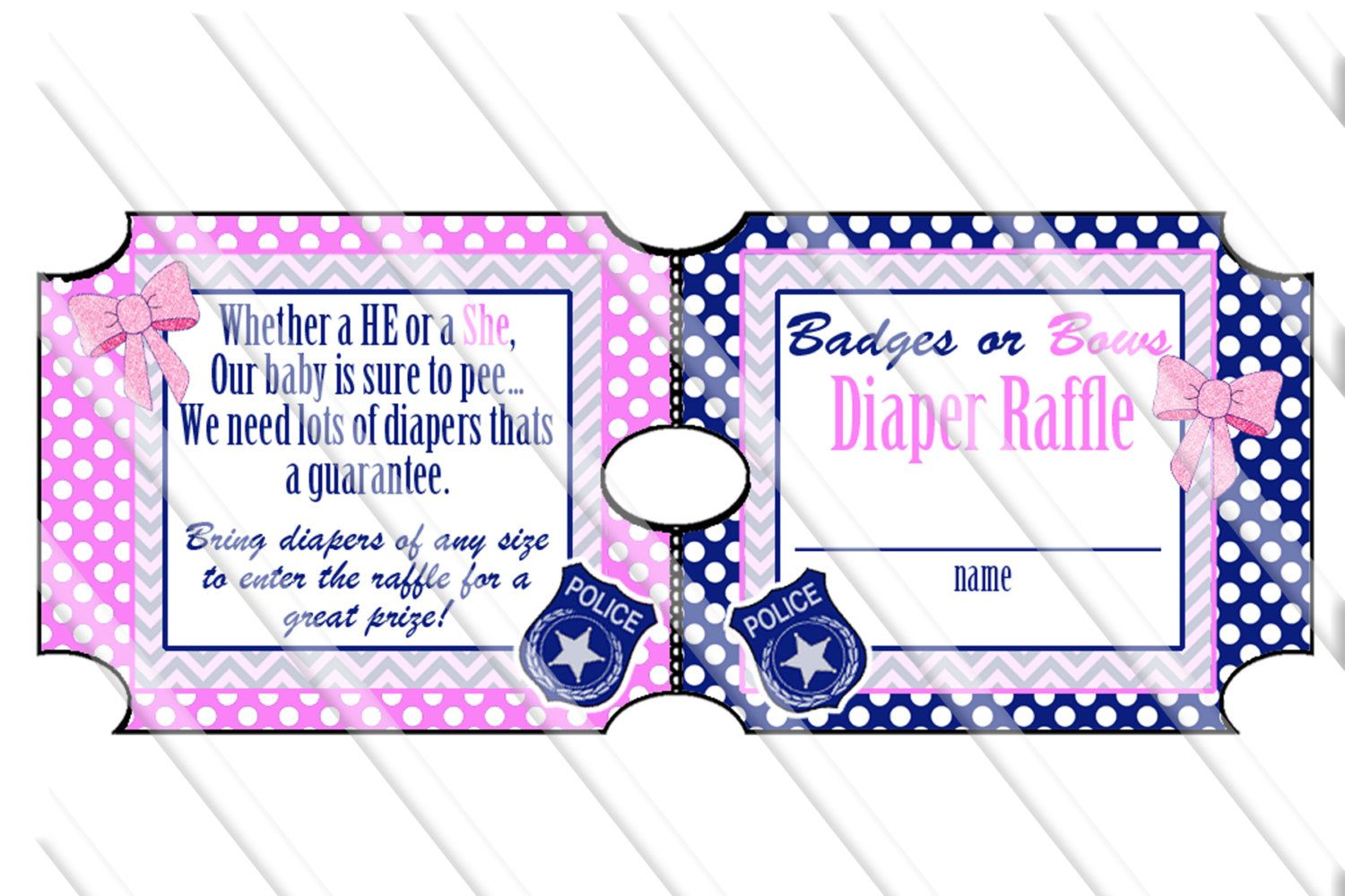 badges or bows gender reveal party diaper raffle ticket printable