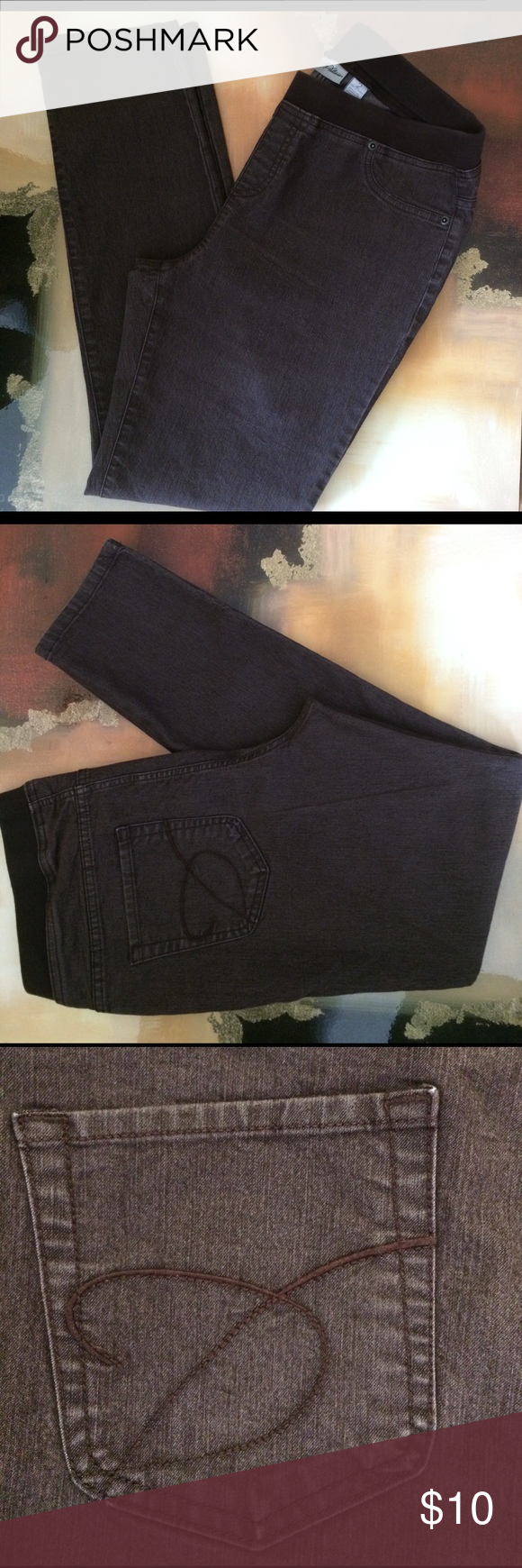 """Chico's Platinum Pull Up Jeans Brown pull up jeans. 1 1/2"""" elastic waist. Front faux pockets and two open back pockets. Cotton, polyester and spandex. 29"""" inseam. Gently worn. Good condition. Chico's size 2 which is a 12. Chico's Jeans Skinny"""